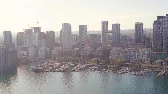 Thumbnail for Toronto, Canada, Aerial  - Toronto's waterfront as seen from a helicopter during the day