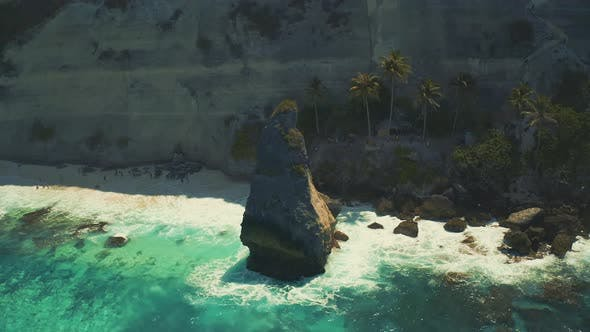 Thumbnail for Cliff with Waves Crashing Against a Rocky Shore on Diamond Beach at the Nusa Penida Island, Bali in