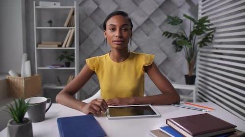 Pretty HR Manager Interviewing Worker Online