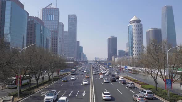 Thumbnail for Central Business District in Beijing, China at Clear Day. Skyscrapers and Car Traffic on Road