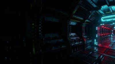 Flying Into Spaceship Tunnel Scifi Spaceship Corridor