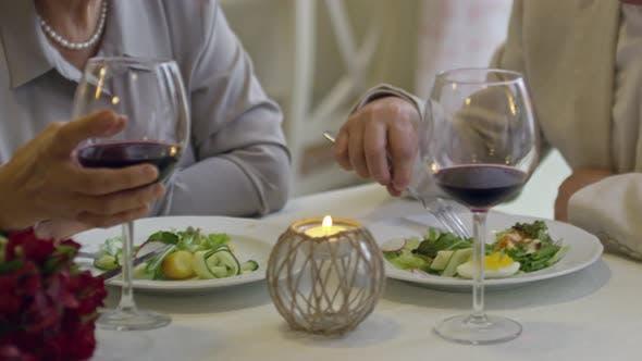 Thumbnail for Senior Couple Relaxing in Restaurant