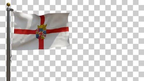 Flagge der Provinz Almeria (Spanien) auf Fahnenmast mit Alphakanal - 4K