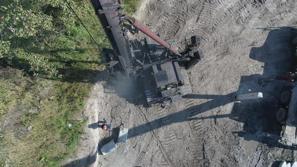 Thumbnail for Aerial view of a pile bore machine