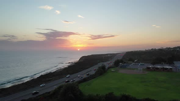 Aerial Rising Sunset