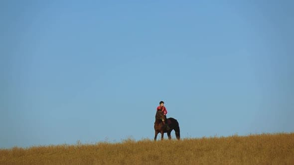 Girl Gallops on a Horse
