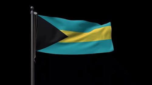 Bahamas Flag On Flagpole With Alpha Channel