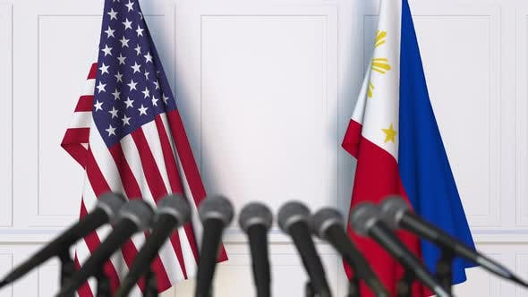 Flags of the United States and Philippines at International Meeting