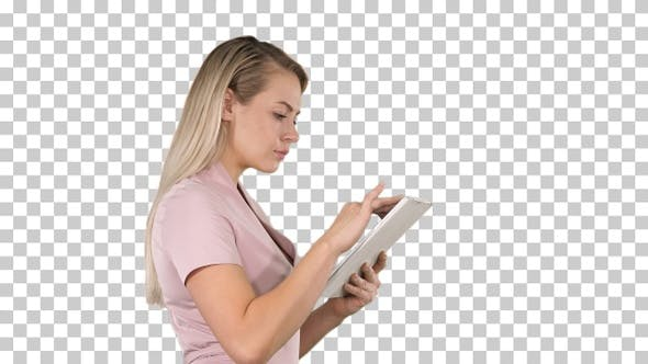 Thumbnail for Girl holding digital tablet searching for something, Alpha Channel