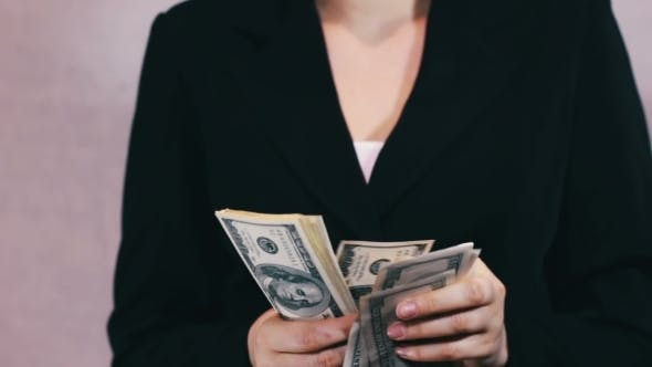 Cover Image for Business Women Counts Money In Hands.