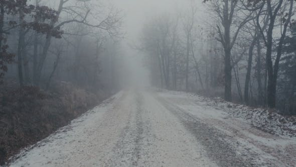 Thumbnail for Scary Foggy and Cold Gravel Road