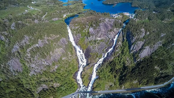 Cover Image for Aerial Footage Latefossen Waterfall Norway