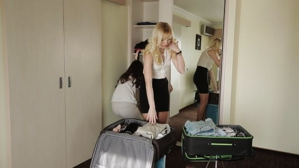 Thumbnail for Girl Girlfriend Collect Things In Suitcases