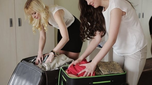 Thumbnail for Girl Girlfriend Collect Suitcases For Vacation