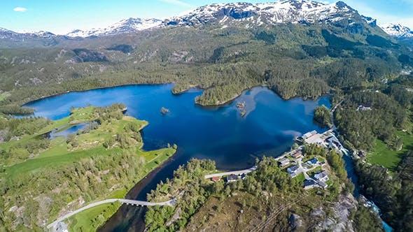 Aerial Footage Latefossen Waterfall Norway