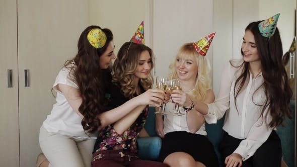 Thumbnail for Beautiful Girl Celebrating Birthday With Glasses Of Champagne