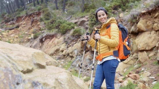 Thumbnail for Healthy Fit Young Woman Outdoors Backpacking