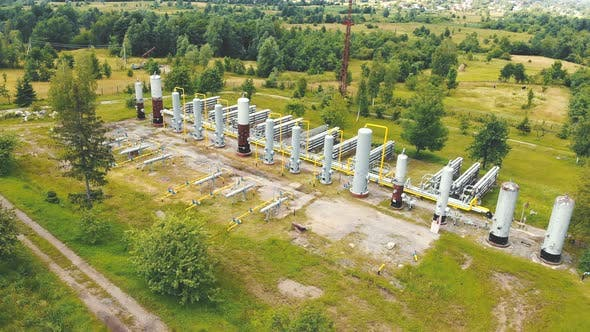 Thumbnail for Aerial View Gas Production. Large Gas Distribution Complex. Gas Production Station Located in the