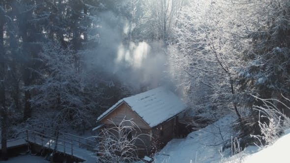 Thumbnail for Wooden Lodge In The Winter Wood