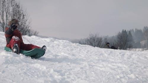 The Boy Climbs Down On a Sledge On a Hill