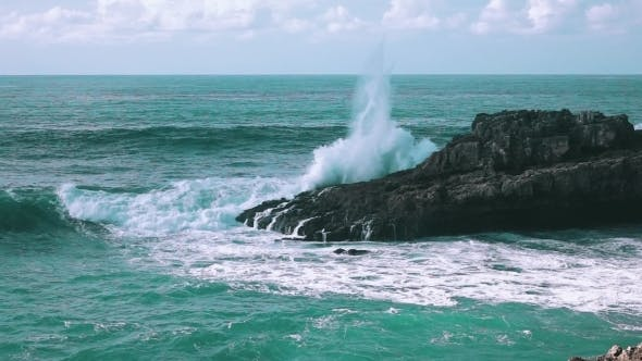 Ocean Waves Breaking On Rock Boca Do Inferno
