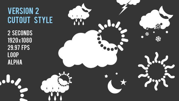 21 Animated Weather Icons - V2 Cutout Style