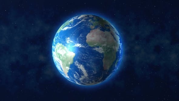 Thumbnail for Blue Planet Earth Rotation With Space Background