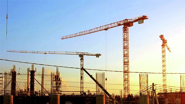 Thumbnail for Timelapse Cranes Working in Construction Site on Sunset