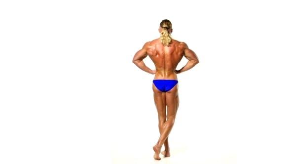 Bodybuilder In Blue Underwear