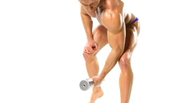 Thumbnail for Bodybuilder With Dumbbells From Down View