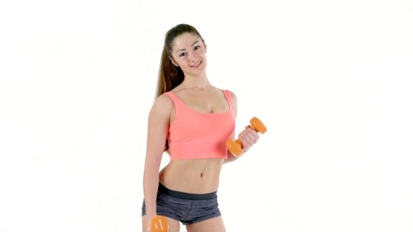 Thumbnail for Pretty Athletic Woman Pumping Up Muscles  Isolate