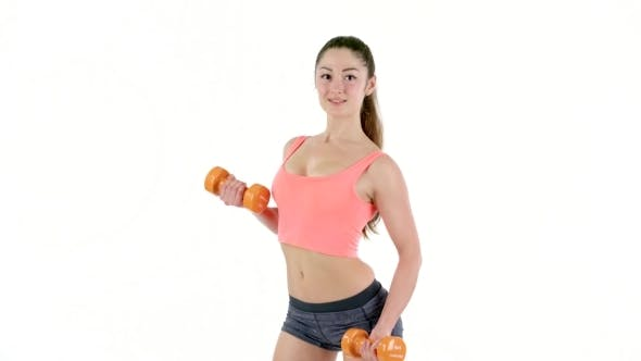Thumbnail for Pretty Athletic Woman With Dumbbells Isolate