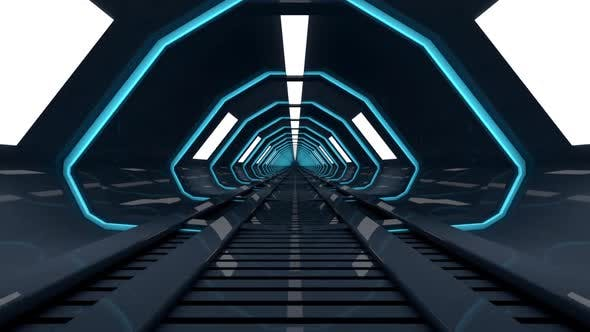Thumbnail for 3D rendered Animation of a journey through a spaceship corridor