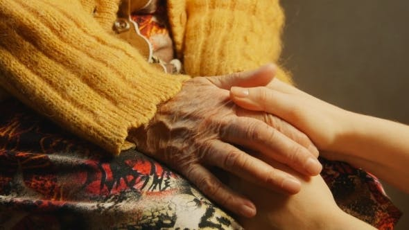 Old Woman Young Woman Hold Hand Wrinkle Skin