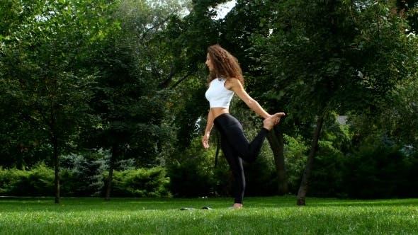 Thumbnail for Slim Girl Prepearing Doing Yoga In Park