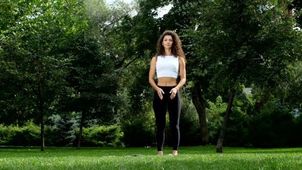 Thumbnail for Girl Prepearing Doing Yoga In Park