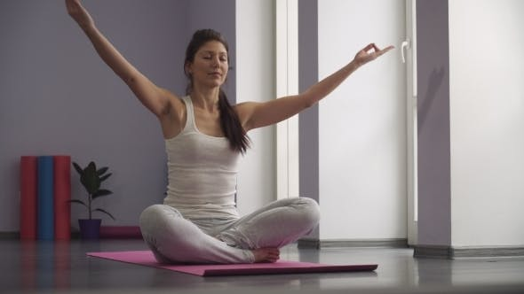 Thumbnail for Girl Exercising Yoga, Taking a Prayer Position