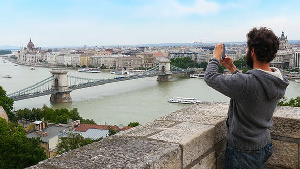 Thumbnail for Single Man Enjoy With Budapest River View, Hungary
