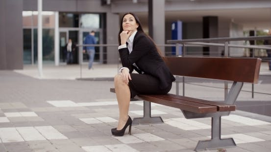 Thumbnail for Calm Business Woman Sitting Outdoors