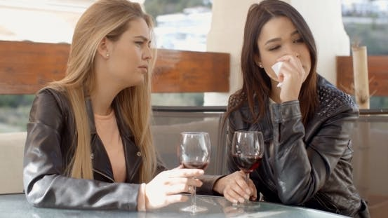 Thumbnail for Female Drinking With Crying Friend
