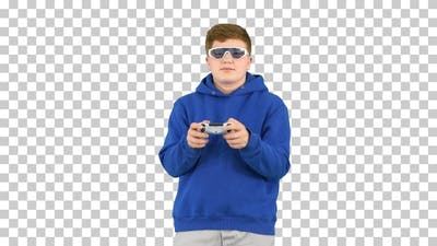 Teenager boy playing video game, Alpha Channel