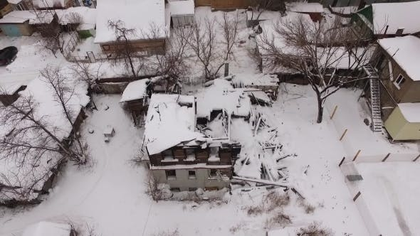 Thumbnail for Drone Flies Up Over Old Building And Shows Winter City Panorama