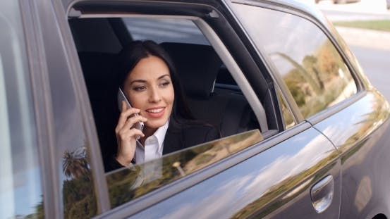 Thumbnail for Curious Business Woman On Phone Looking From Car