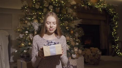 Pretty Smiling Girl Gives the Christmas Present Box To Camera, Standing at Decorative Lighting at