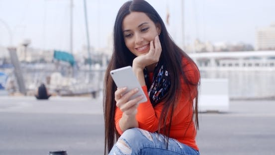 Thumbnail for Attractive Woman Reading a Text Message