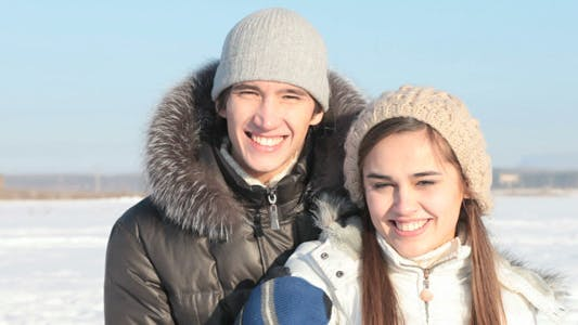 Cover Image for Smiling Couple on Sledge