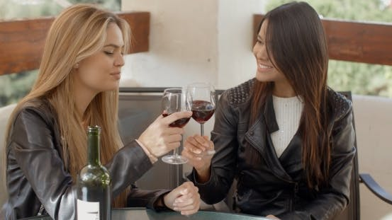 Thumbnail for Two Attractive Girls Sitting On Balcony With Wine