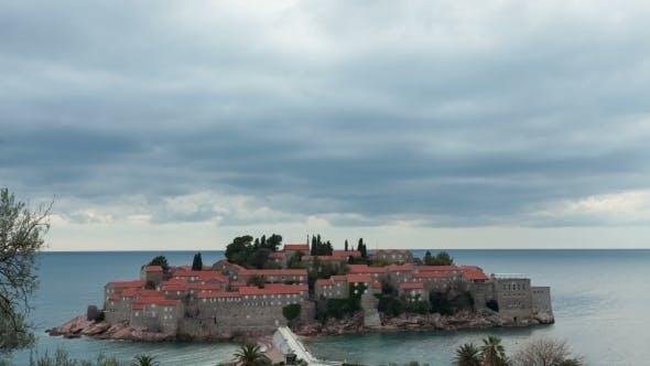 Island Of Sveti Stefan In Overcast