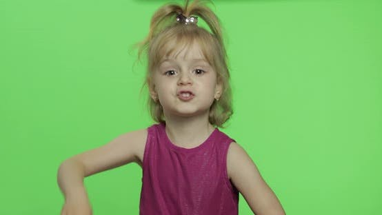 Thumbnail for Girl in Purple Dress Tells Something. Happy Four Years Old Child. Chroma Key