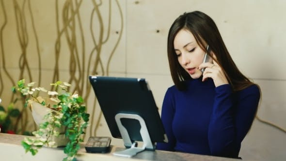 Thumbnail for Attractive Woman Takes Orders By Phone